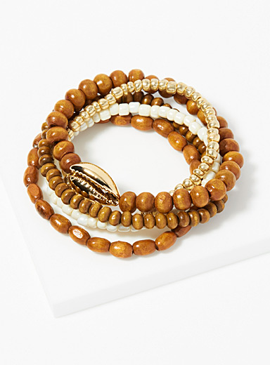 Simons Patterned Brown Nomadic charm bracelets  Set of 5 for women