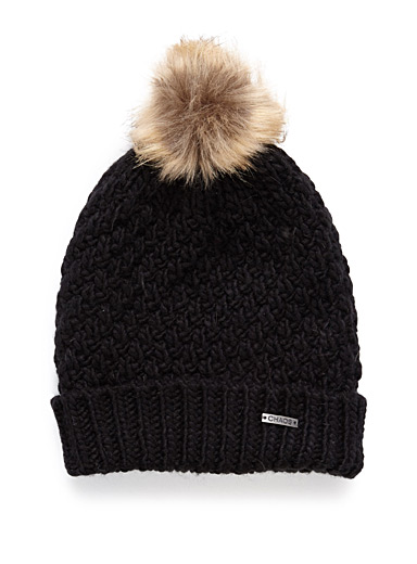 Faux-fur pompom tuque
