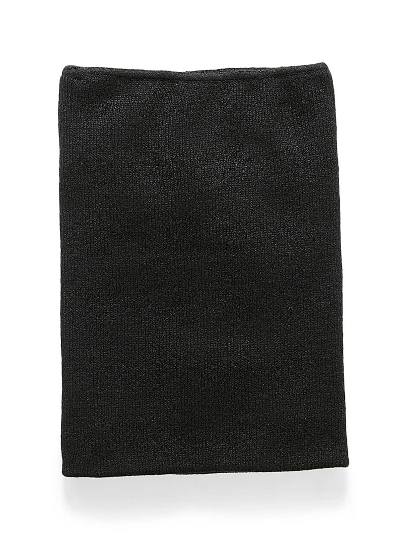 Mixed knit neck warmer - Tuques & other - Black