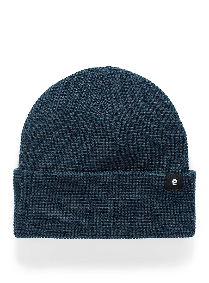 I.FIV5 Blue Eco-friendly waffle knit tuque for men