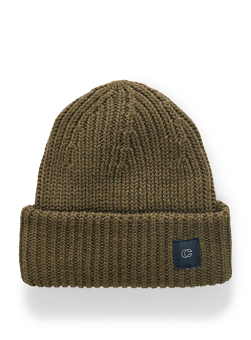 Chaos Mossy Green Merino wool ribbed tuque for women