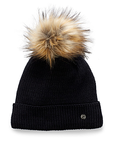 Chaos Black Aster pompom tuque for women