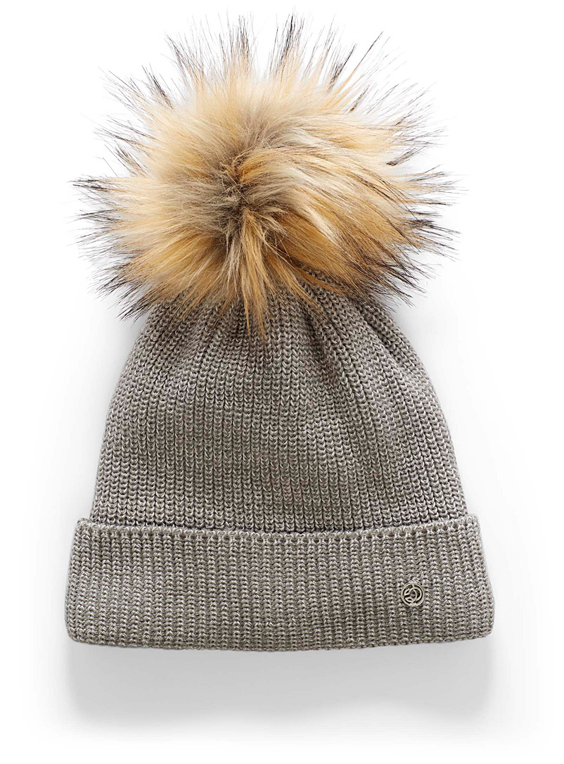 Chaos Grey Aster pompom tuque for women