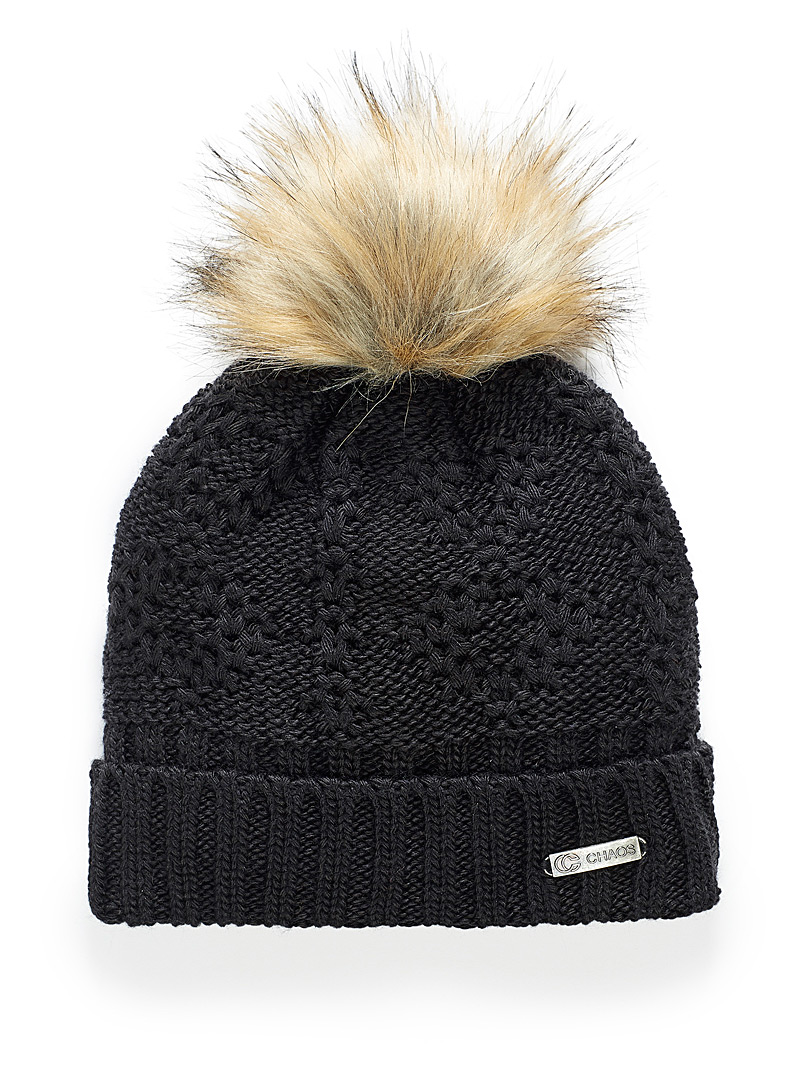 Chaos Black Hermione jacquard knit tuque for women