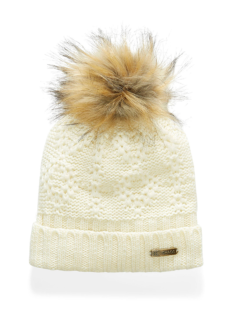 Chaos Ivory White Hermione jacquard knit tuque for women