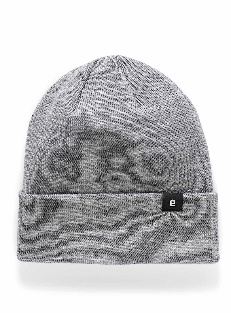 I.FIV5 Grey Solid knit tuque for men