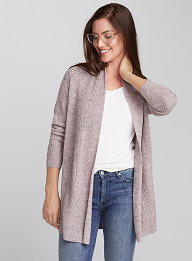 Open rib-knit cardigan