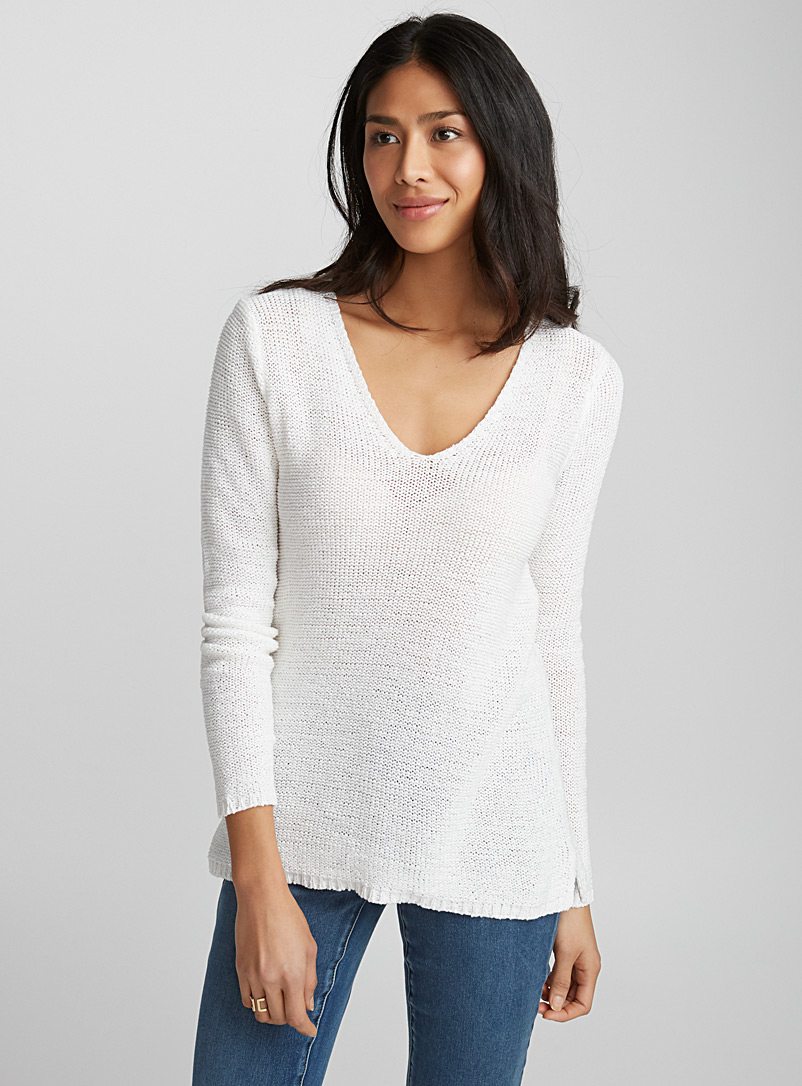 Le pull col V maille ruban - Pulls - Blanc