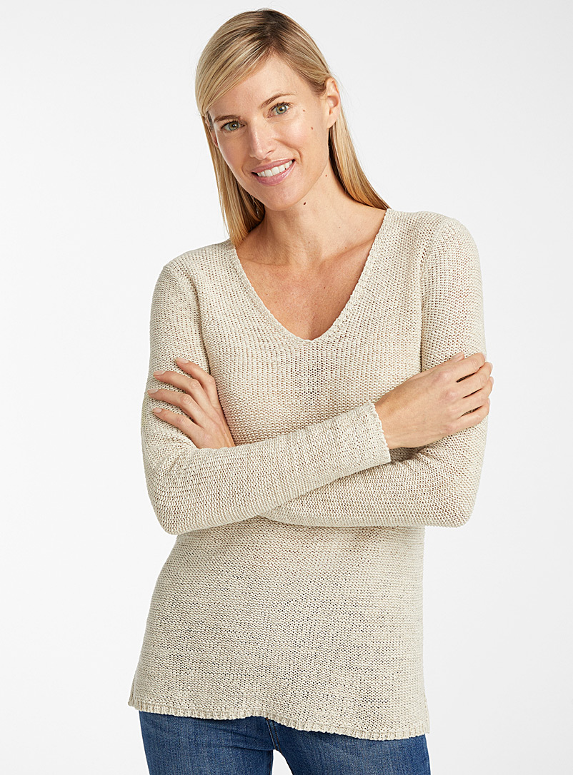 Ribbon-knit V-neck sweater - Sweaters - Sand