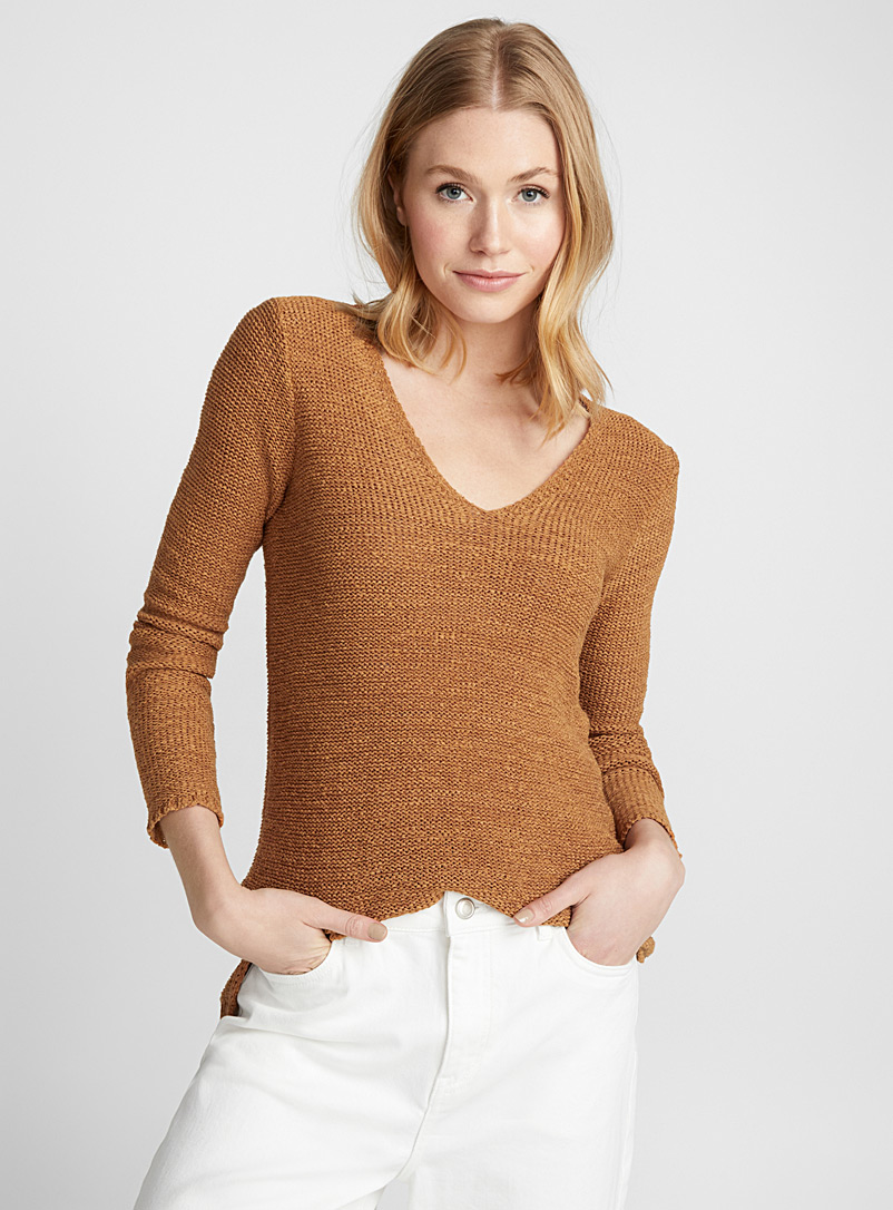 Ribbon-knit V-neck sweater - Sweaters - Fawn