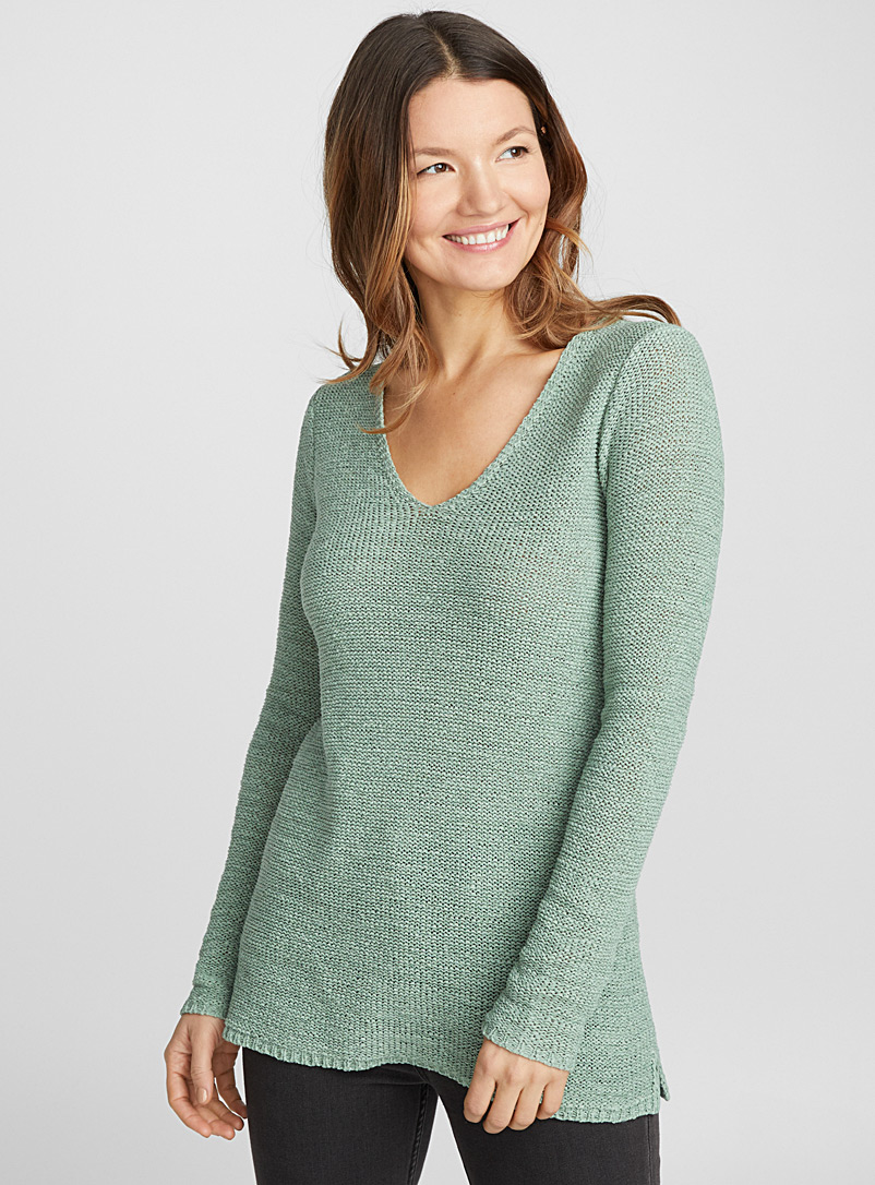 Le pull col V maille ruban - Pulls - Vert