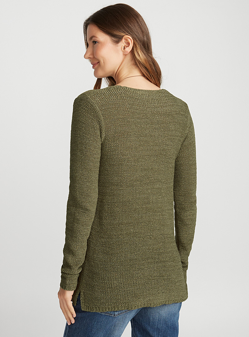 Ribbon-knit V-neck sweater - Sweaters - Mossy Green