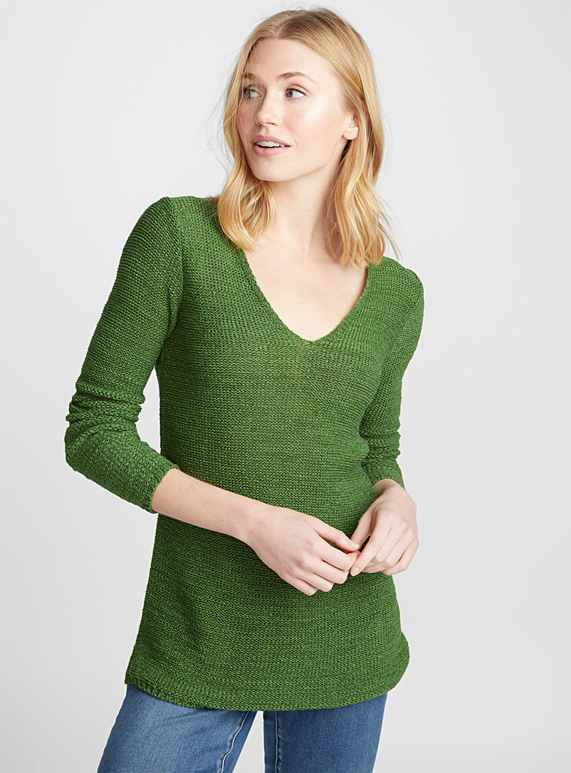 Ribbon-knit V-neck sweater - Sweaters - Bottle Green