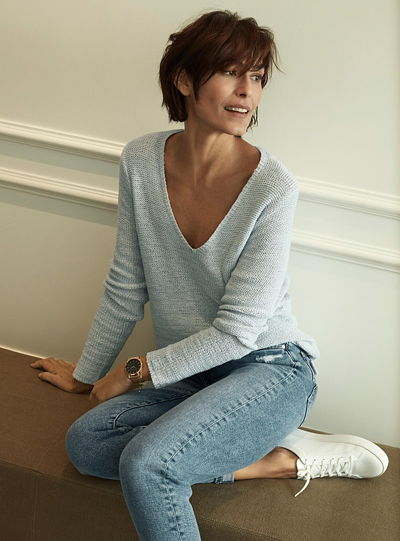 Ribbon-knit V-neck sweater - Sweaters - Baby Blue