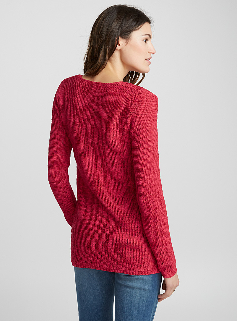 Ribbon-knit V-neck sweater - Sweaters - Cherry Red