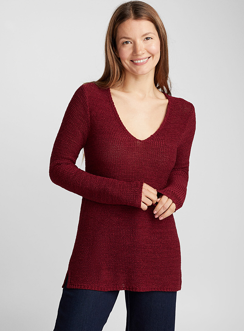 Le pull col V maille ruban - Pulls - Rouge vif-écarlate