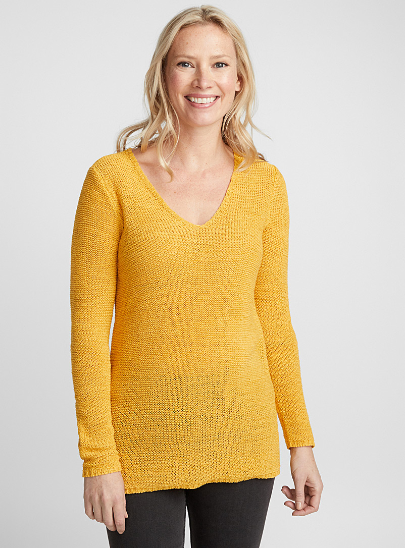 Le pull col V maille ruban - Pulls - Jaune moyen