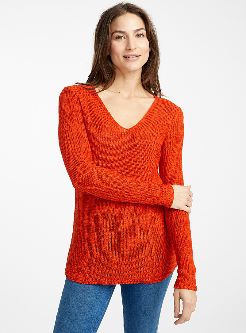 Le pull col V maille ruban - Pulls - Corail
