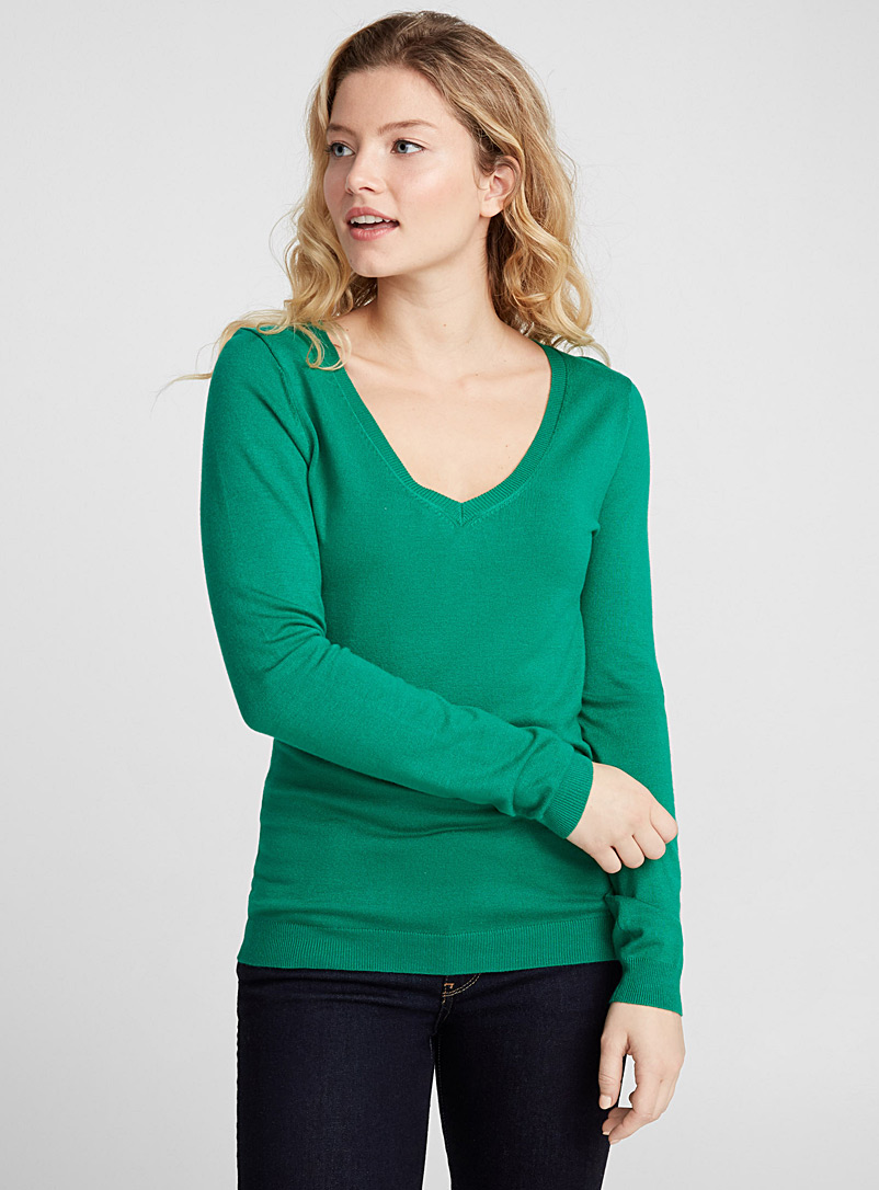 Shiny knit V-neck sweater - Sweaters - Mossy Green