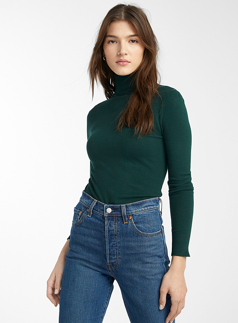 Viscose-knit turtleneck - Sweaters - Green