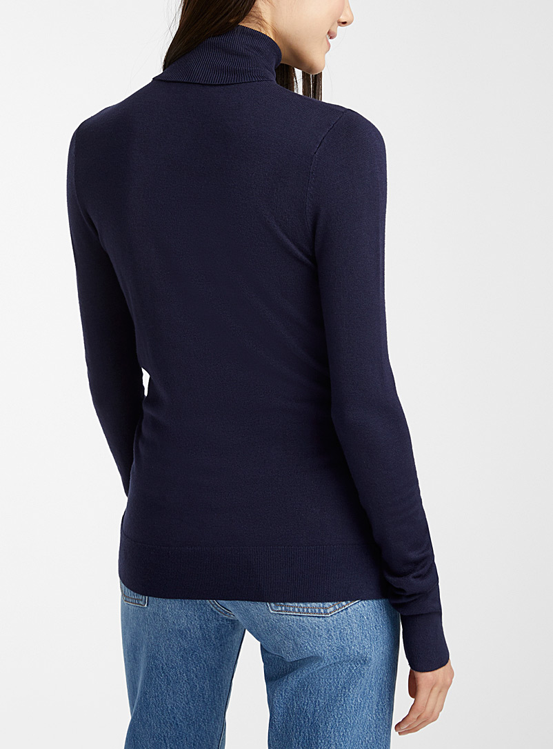 Viscose-knit turtleneck - Sweaters - Marine Blue