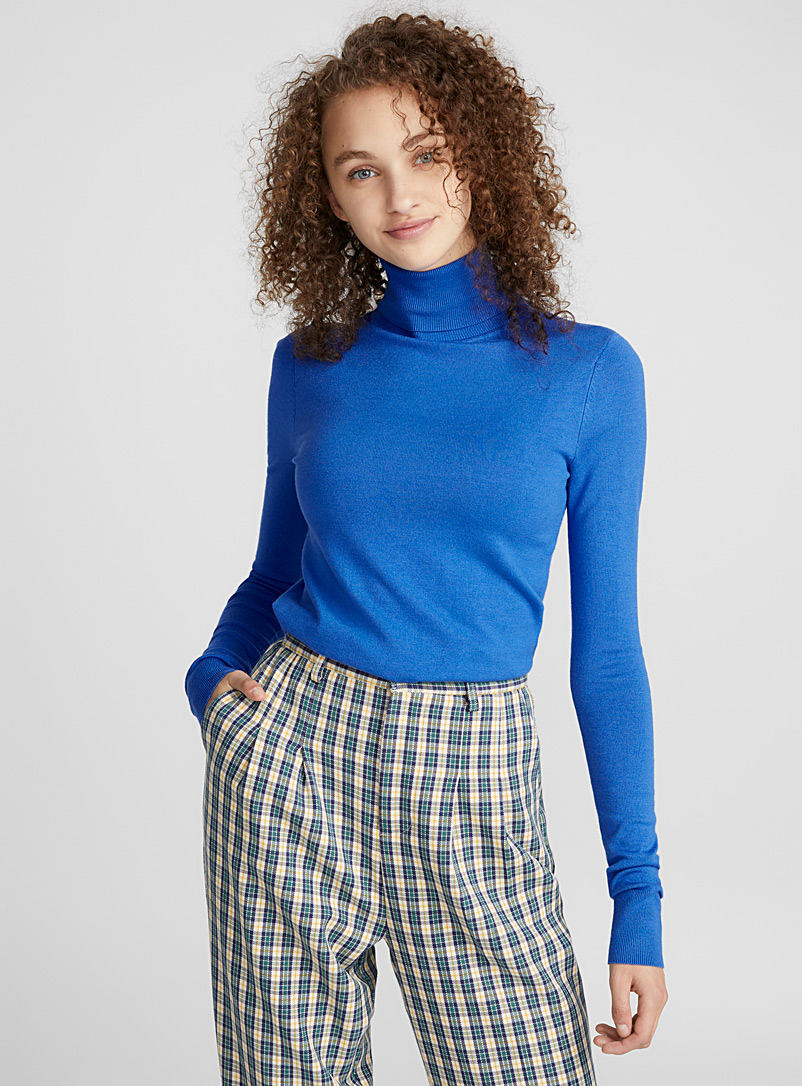 Viscose-knit turtleneck - Sweaters - Sapphire Blue