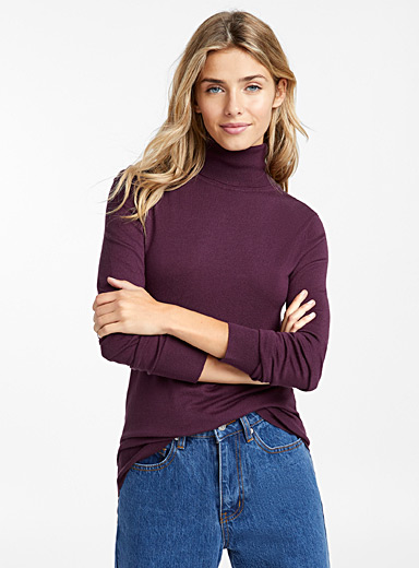 Viscose-knit turtleneck