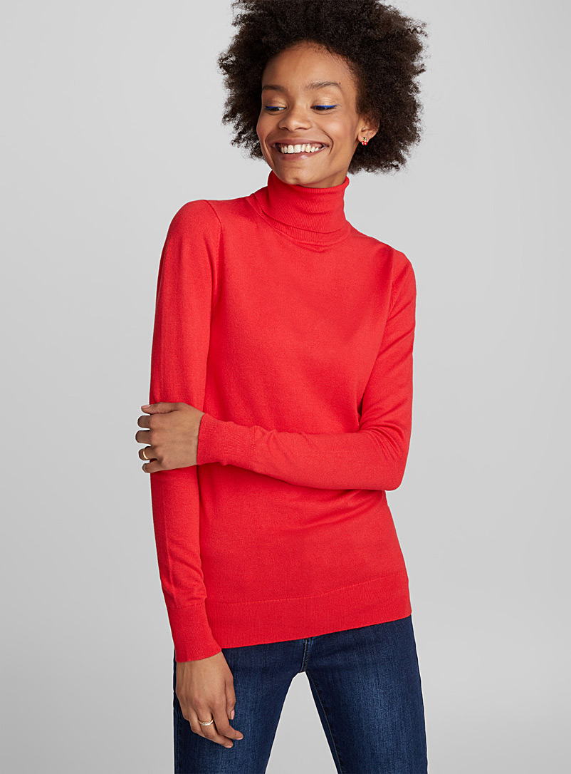 Viscose-knit turtleneck - Sweaters - Red