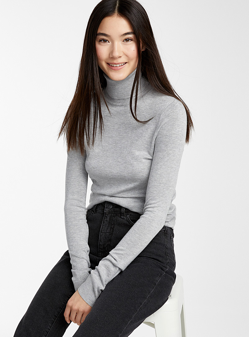 Viscose-knit turtleneck - Sweaters - Silver