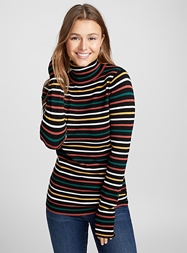 Striped viscose turtleneck