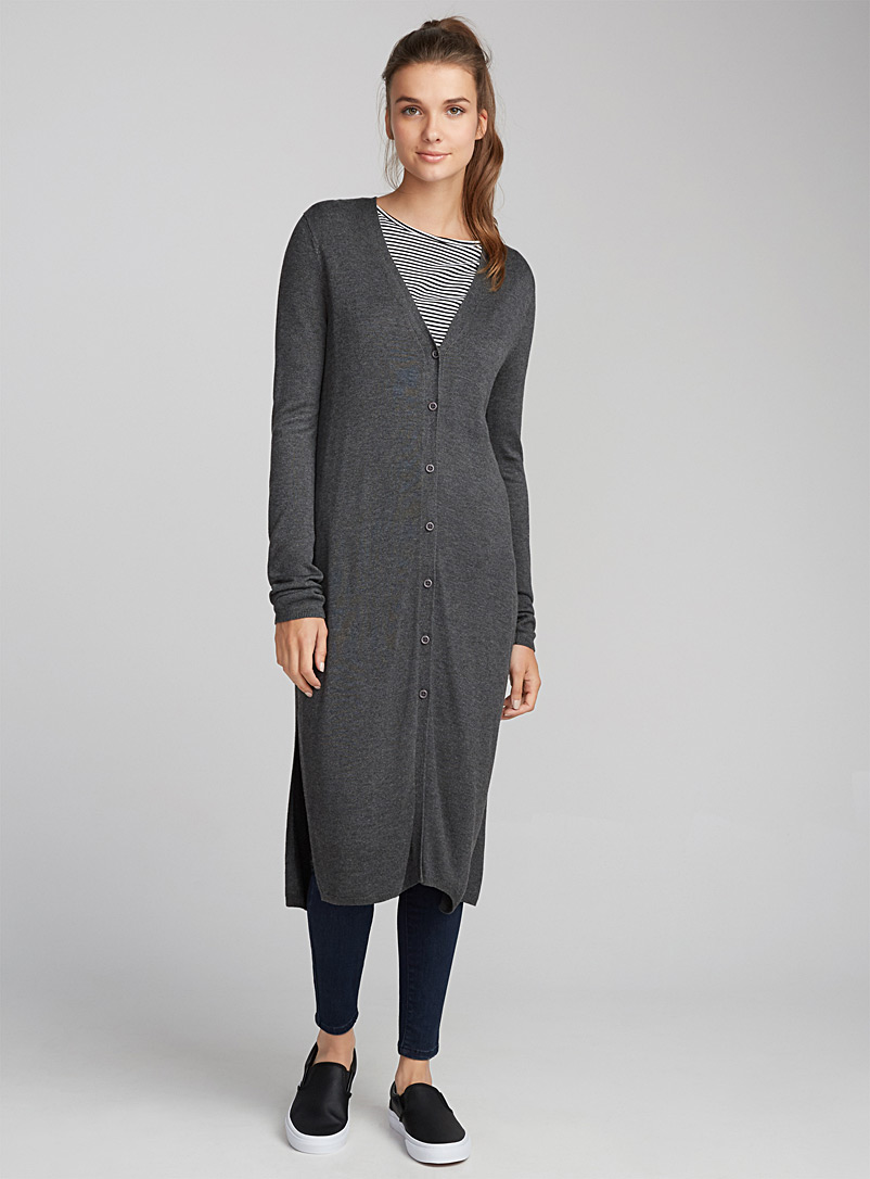 Buttoned maxi cardigan - Cardigans - Charcoal