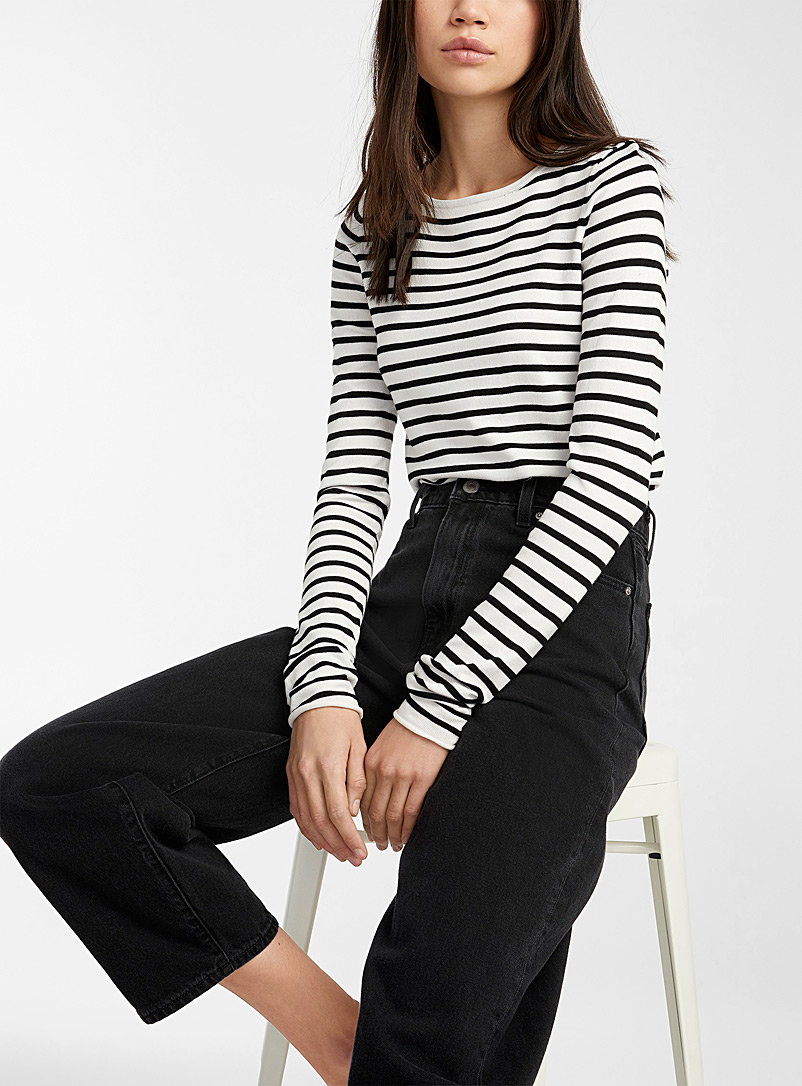 Twik Ivory White Striped crew-neck sweater for women