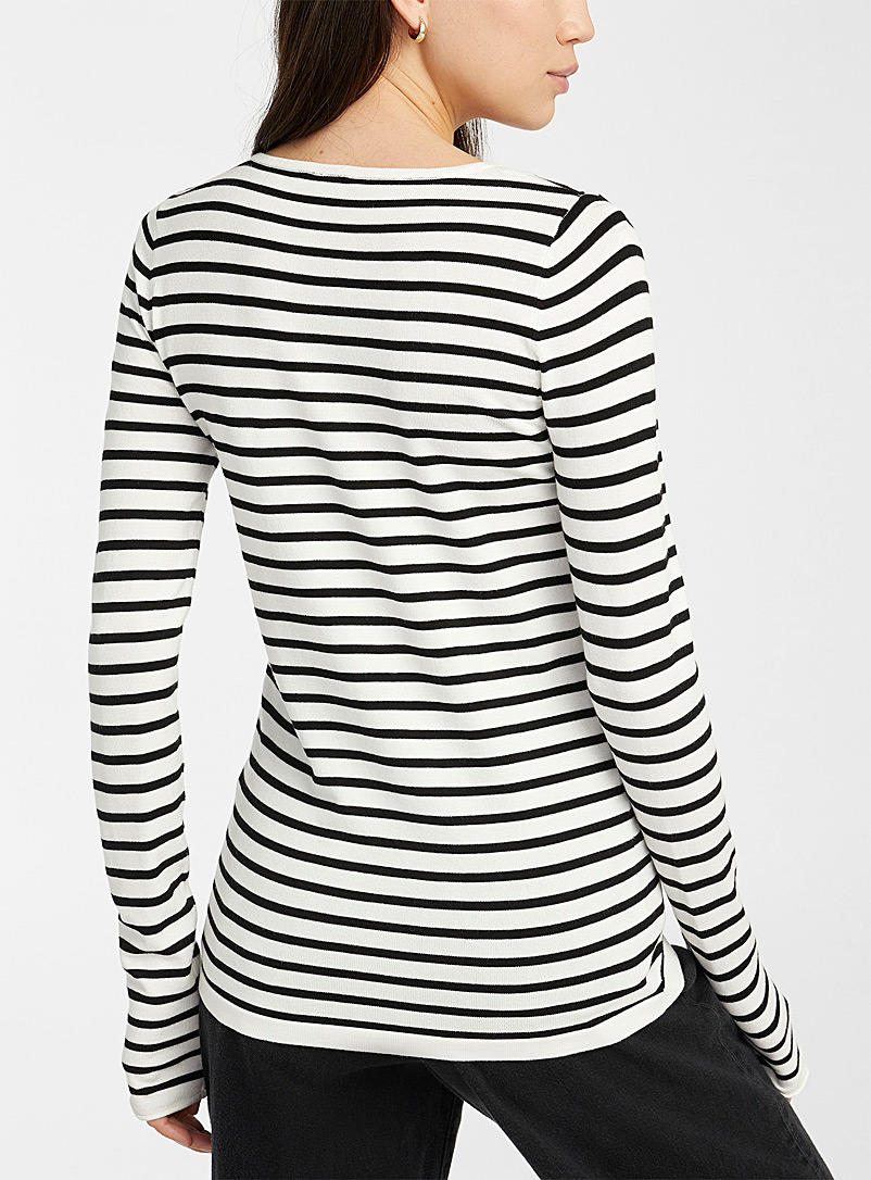 Le pull col rond rayé - Pulls - Ivoire blanc os