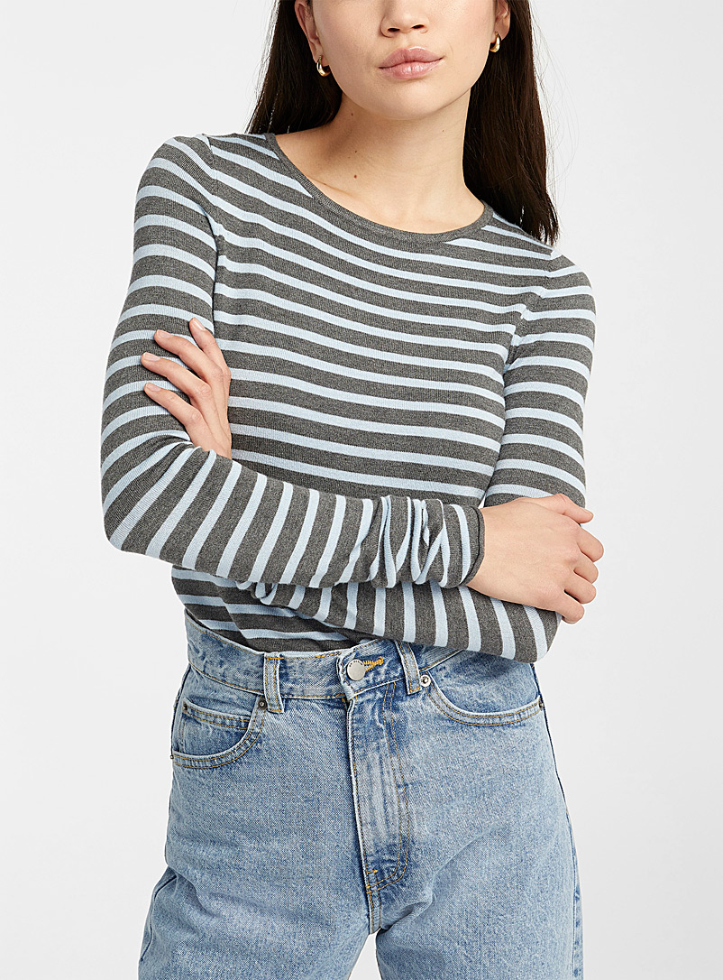 Striped crew neck sweater - Sweaters - Charcoal