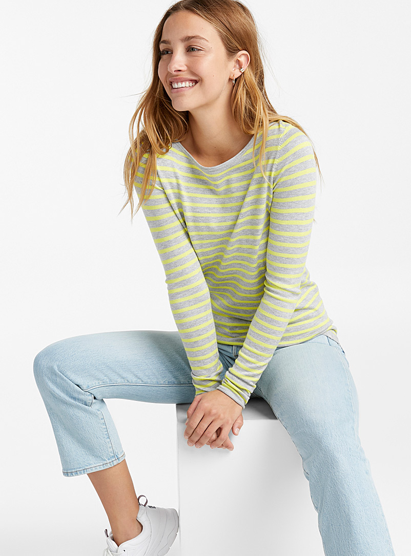 Striped crew-neck sweater - Sweaters - Assorted grey