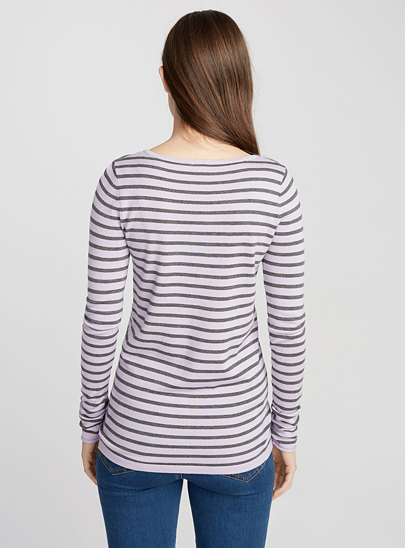Le pull col rond rayé - Pulls - Violet