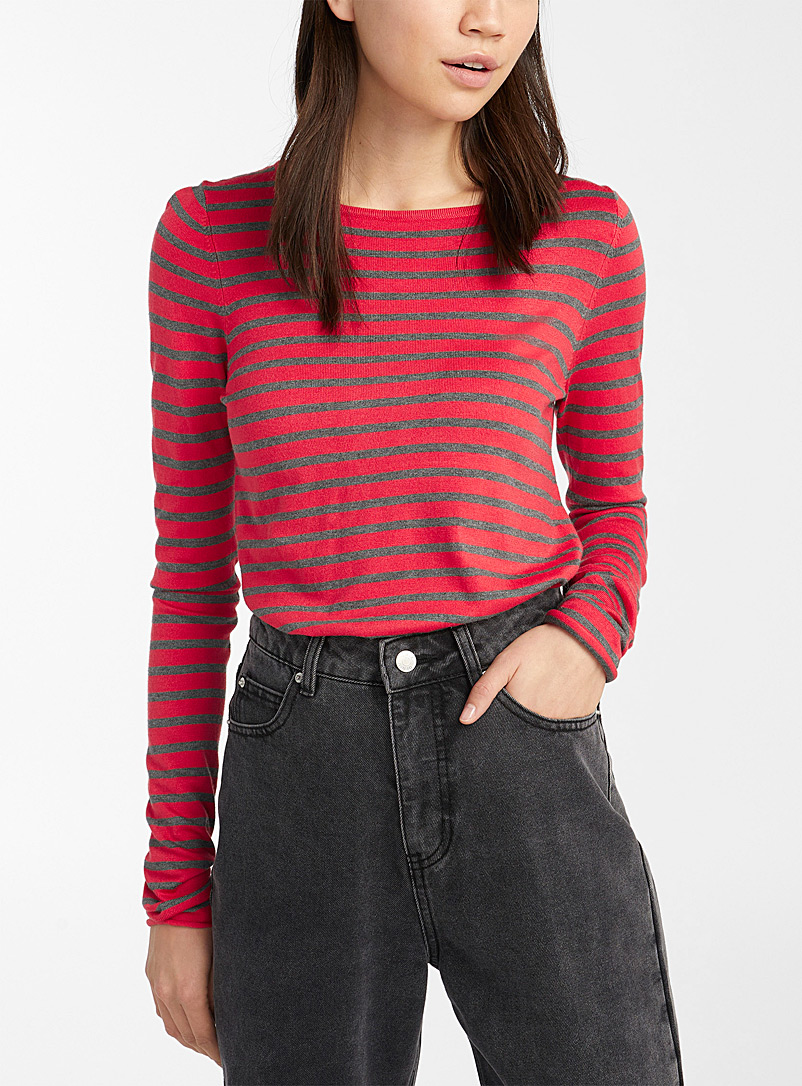 Striped crew-neck sweater - Sweaters - Bright Red
