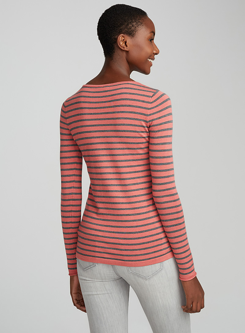 Le pull col rond rayé - Pulls - Rose moyen