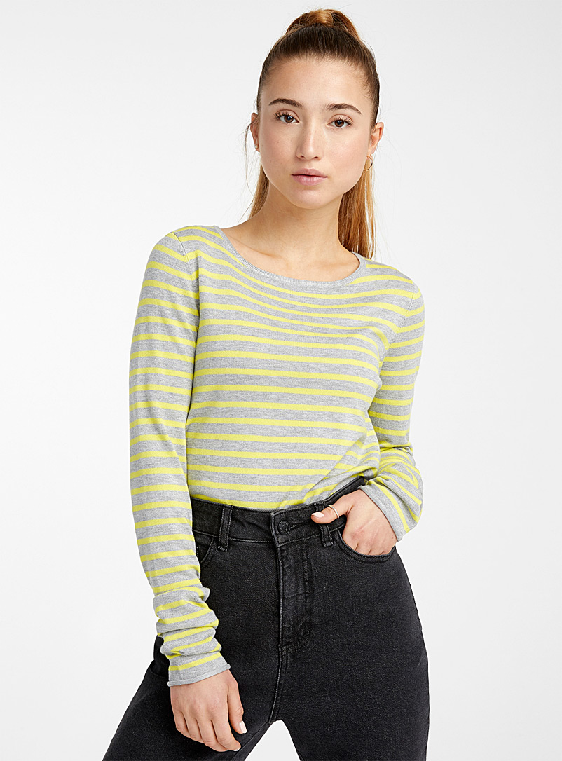 Twik Charcoal Striped crew-neck sweater for women
