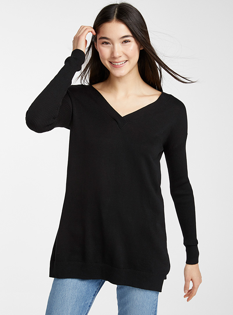 Crossed back sweater - Sweaters - Black