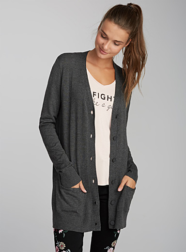 Solid viscose cardigan
