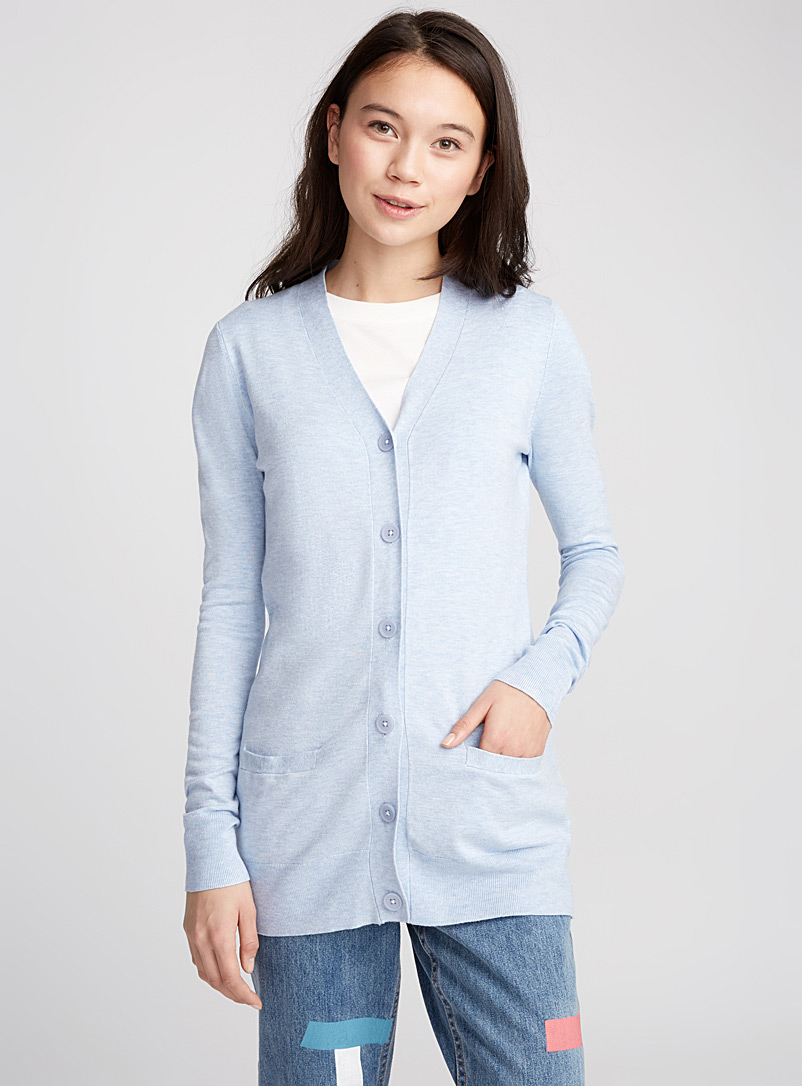 Solid viscose cardigan - Cardigans - Baby Blue