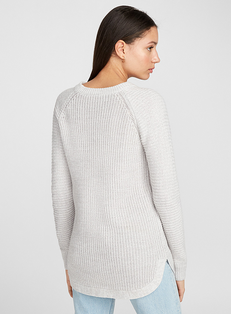 Twik Ivory White Waffle-knit long sweater for women