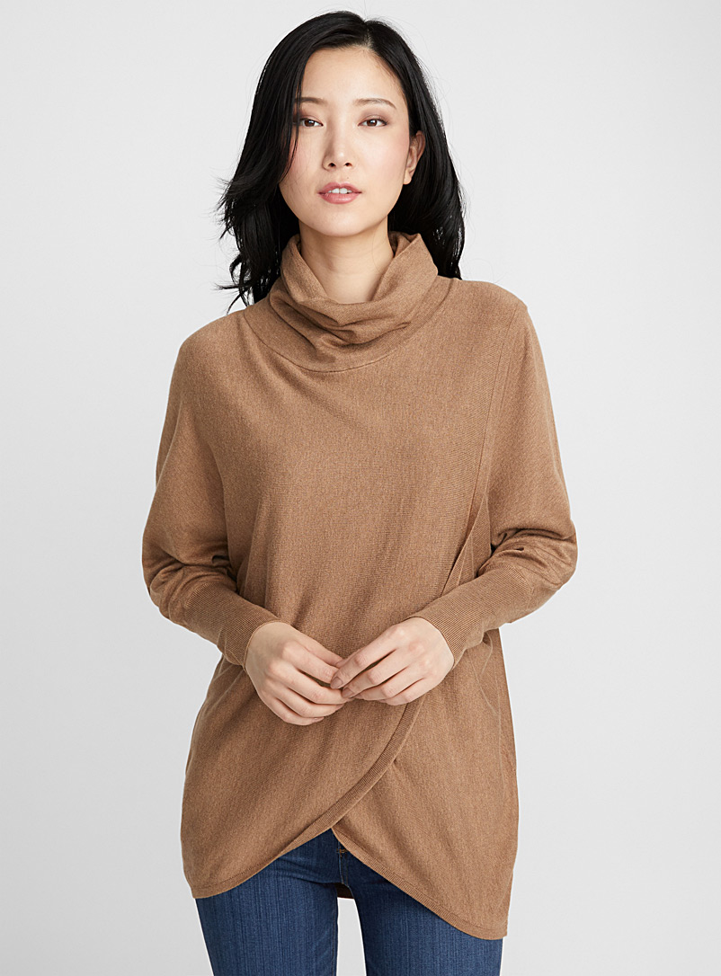 Loose crossover turtleneck - Sweaters - Light Brown