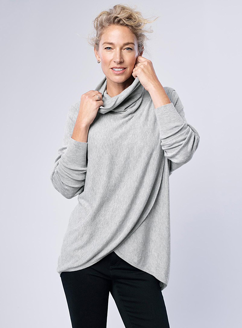 Loose crossover turtleneck - Sweaters - Light Grey