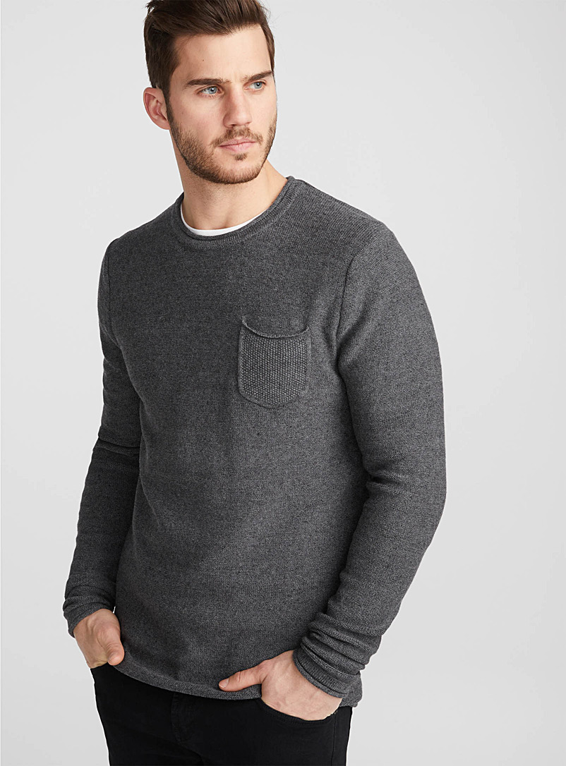 Reverse knit sweater - Cotton - Charcoal