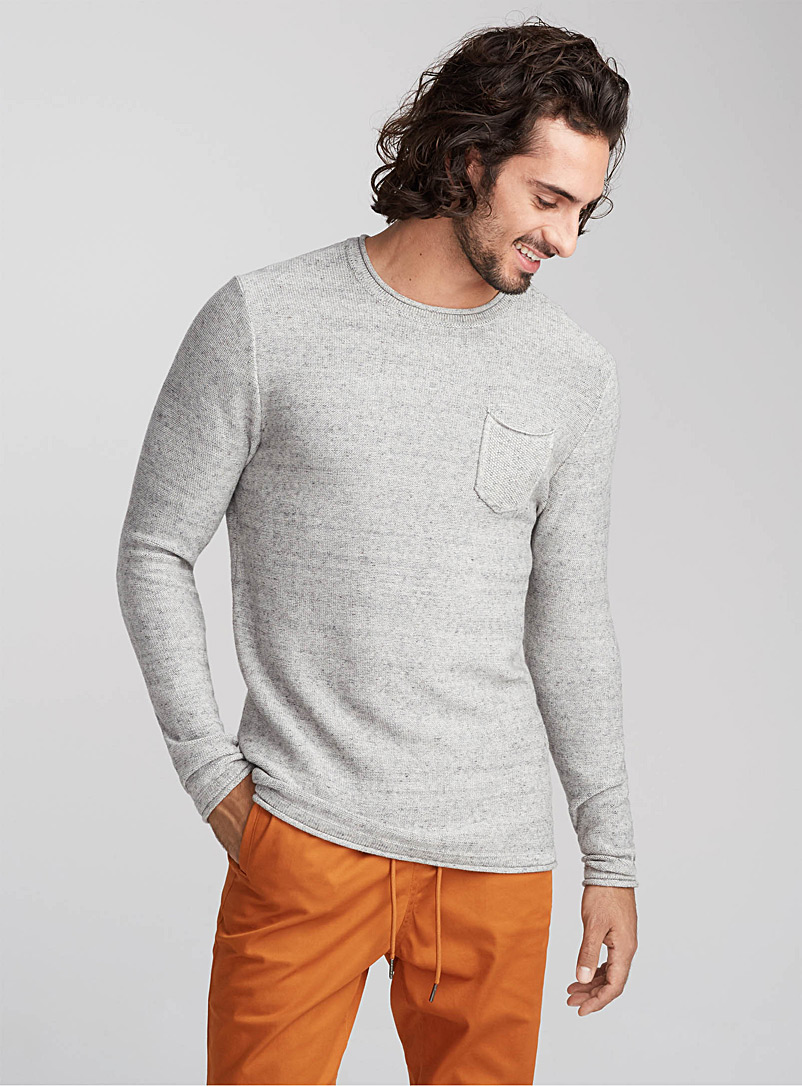 Reverse knit sweater - Cotton - Grey
