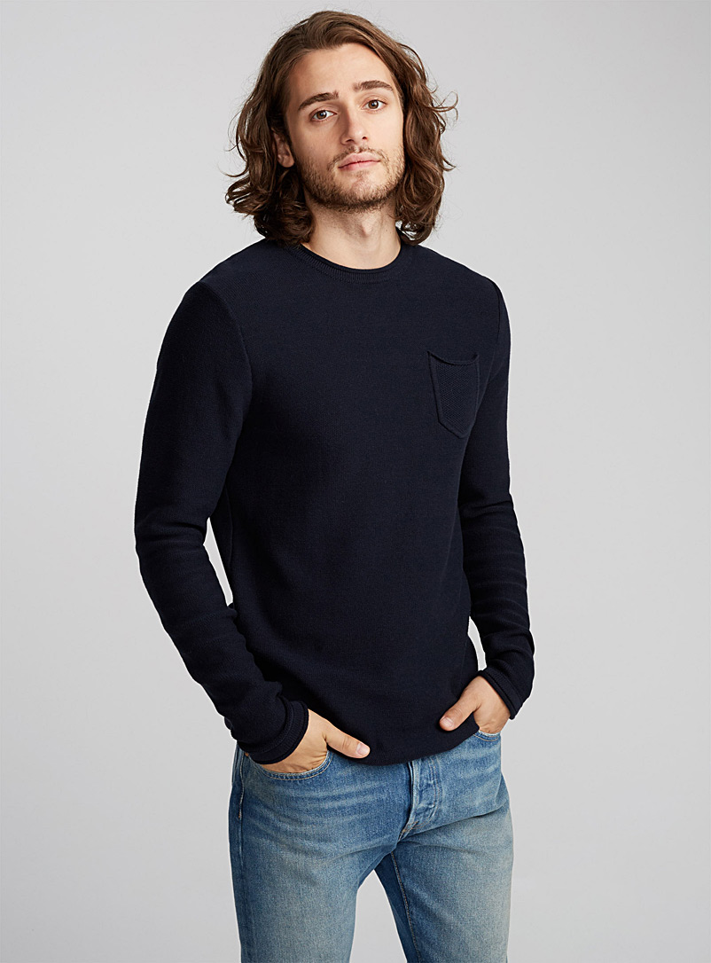 Reverse knit sweater - Cotton - Marine Blue