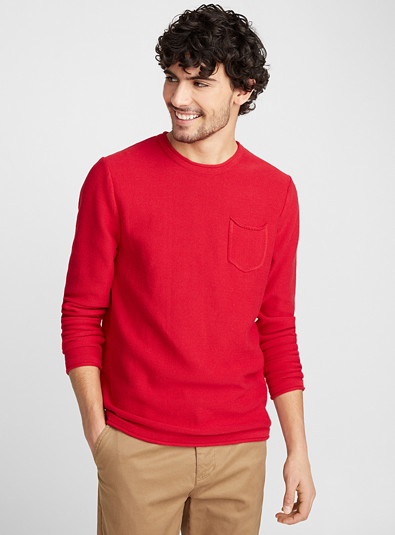 Reverse knit sweater - Cotton - Red