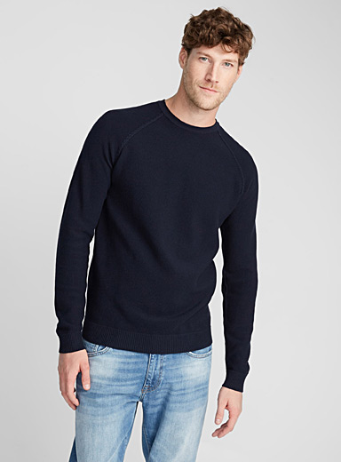 Piqué raglan organic cotton sweater